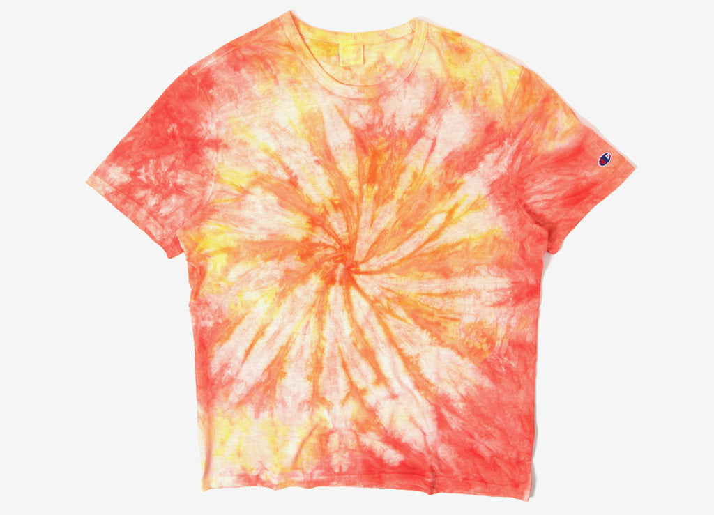 Champion Reverse Weave Tie Dye Classic T Shirt - Orange