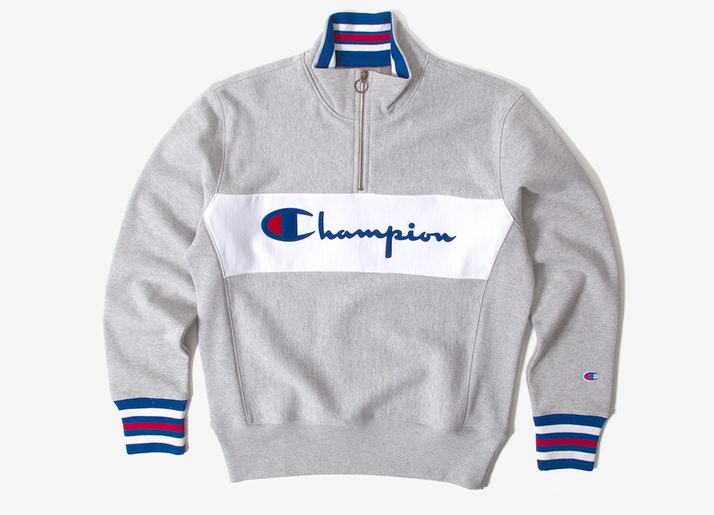 Champion Reverse Weave Big Script 1/2 Zip Sweatshirt - Heather Grey