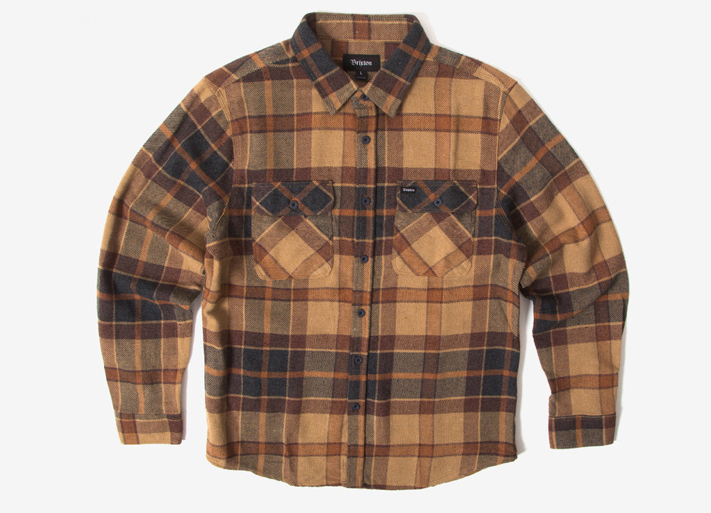 Brixton Bowery Flannel Shirt - Cream/Copper