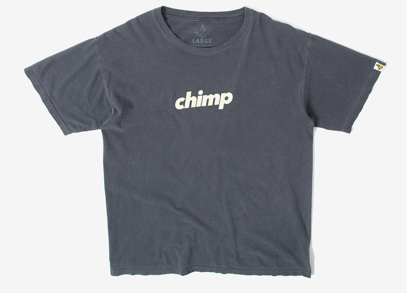 Chimp Slant Pigment Dyed T Shirt - Pepper