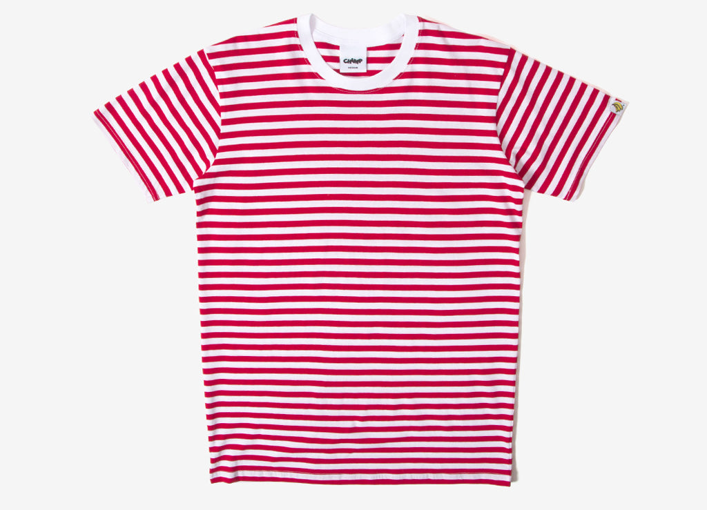 Chimp Premium Staple Stripe T Shirt - White/Red
