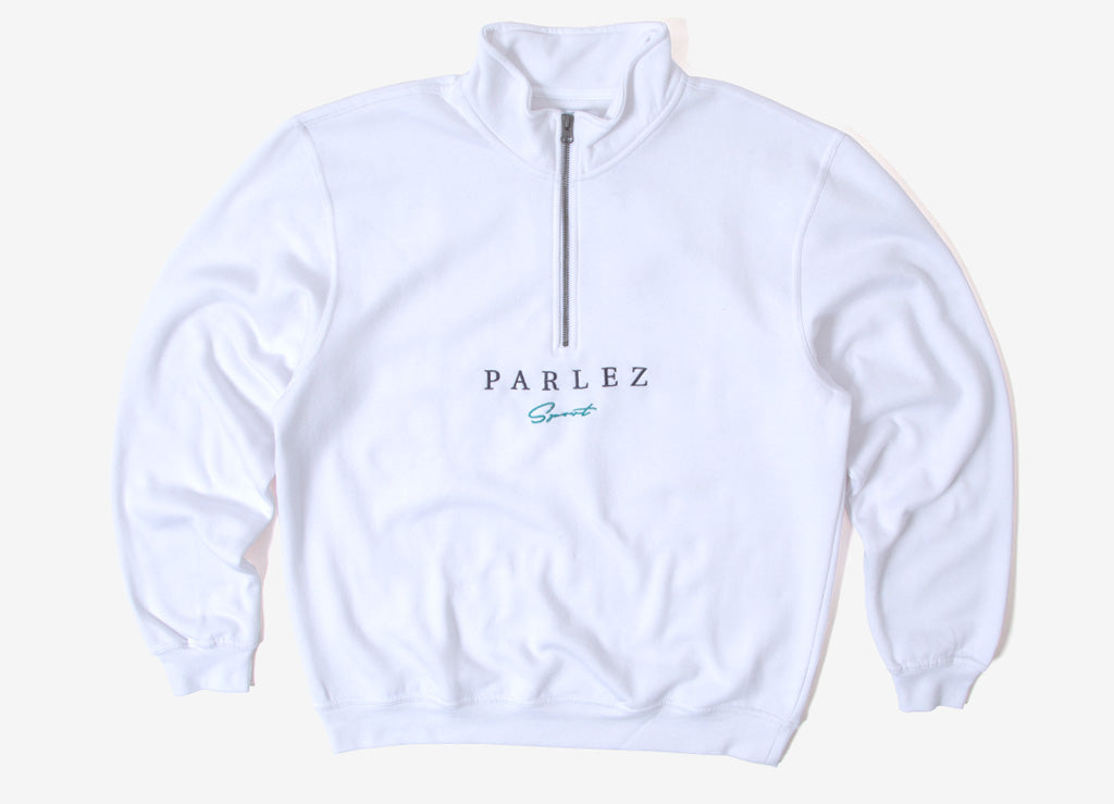 Parlez Sports Script 1/4 Zip Sweatshirt - White