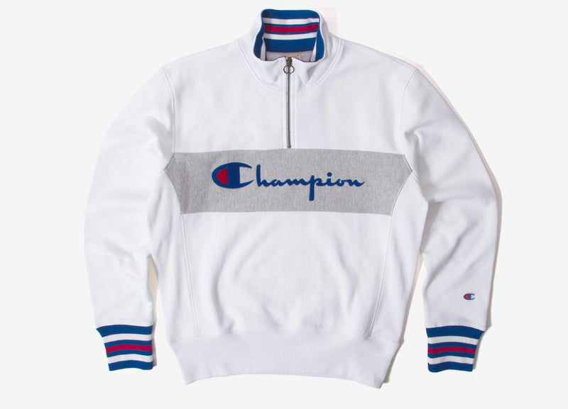 Champion Reverse Weave Big Script 1/2 Zip Sweatshirt - White