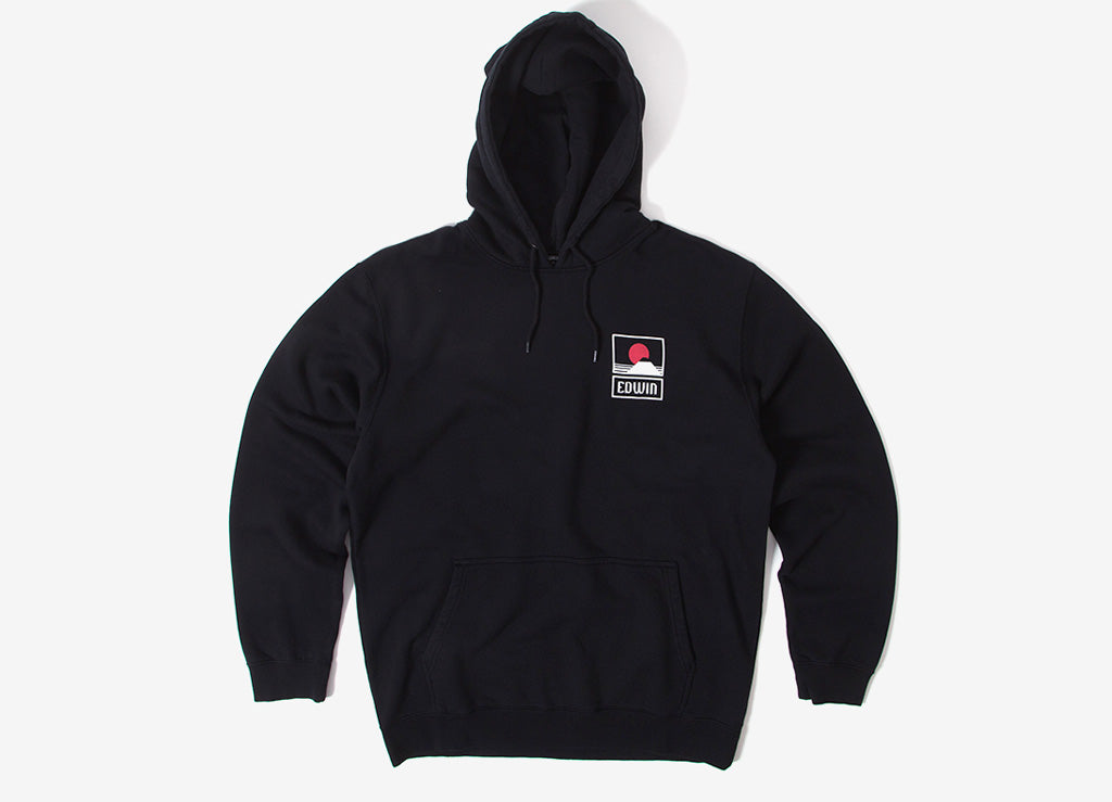 Edwin Sunset On Mt Fuji Pullover Hoody - Black Garment Washed
