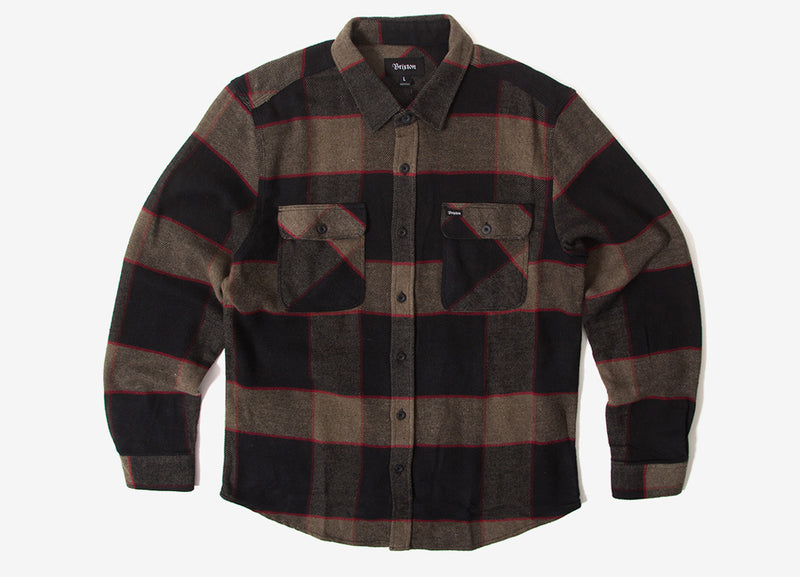 Brixton Bowery Flannel Shirt - Heather Grey/Charcoal