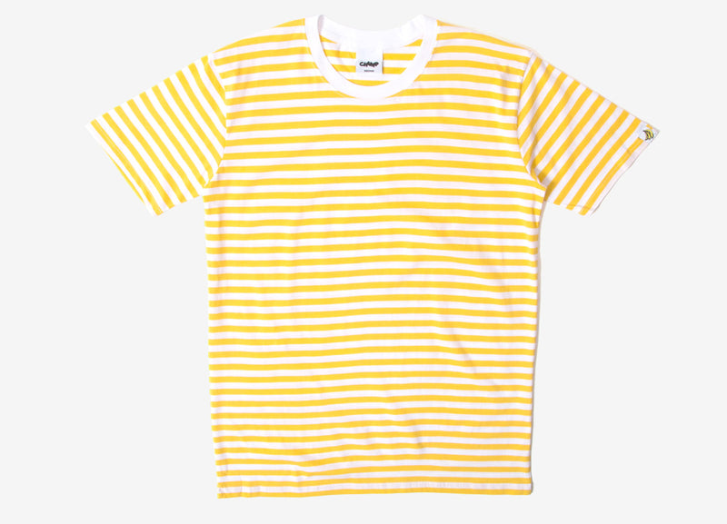 Chimp Premium Staple Stripe T Shirt - White/Yellow