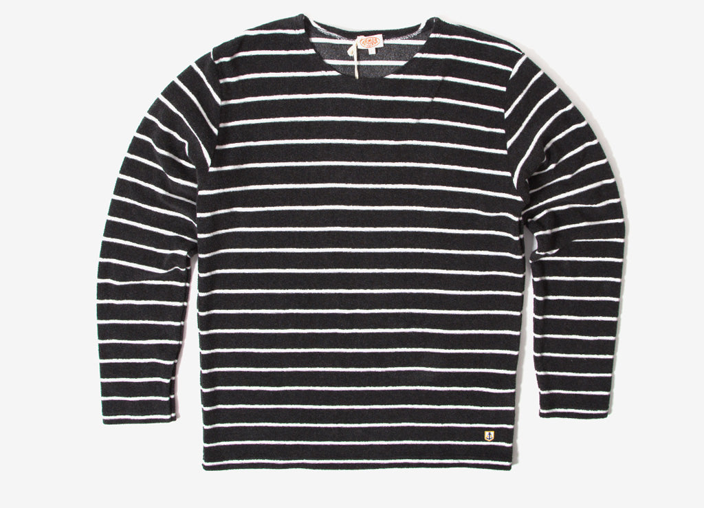 Armor Lux Terry Breton Stripe Long Sleeve T Shirt  - Ebony/Milk