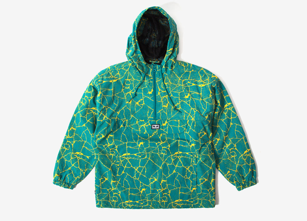 Obey Concrete Anorak Jacket - Cracked Blue Green