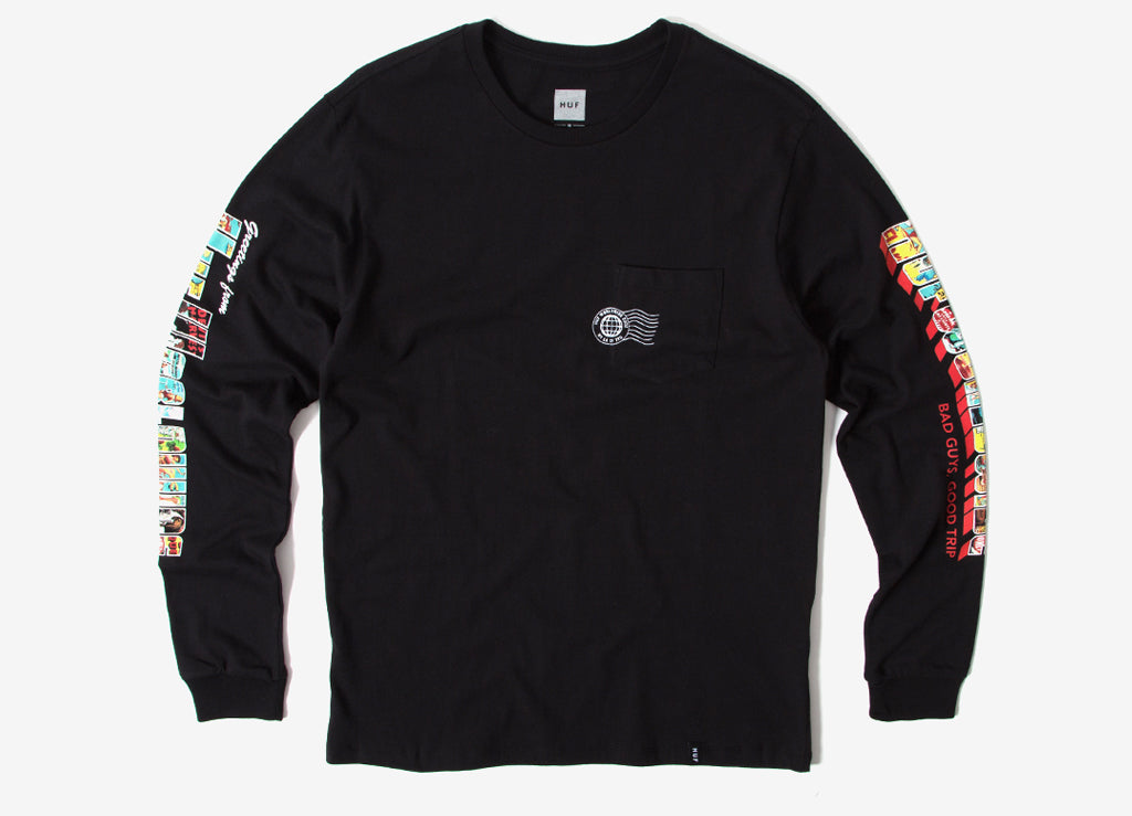 HUF Greetings Long Sleeve Pocket T Shirt - Black
