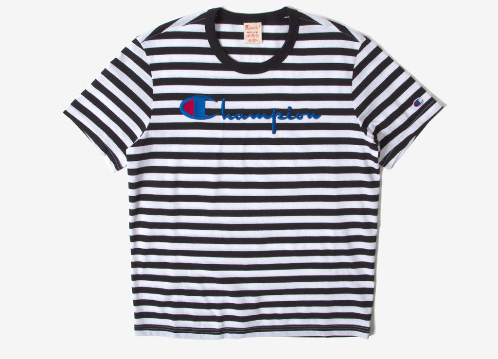 Champion Embroidered Stripe Crewneck T Shirt - Black/White