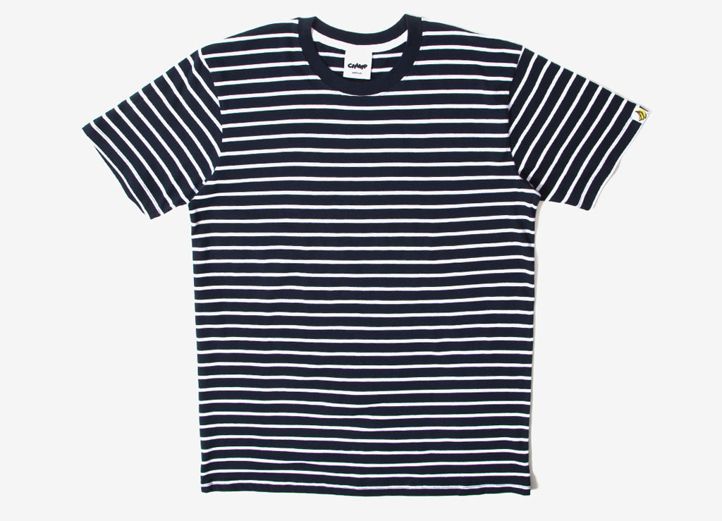 Chimp Premium Staple Stripe T Shirt - White/Navy