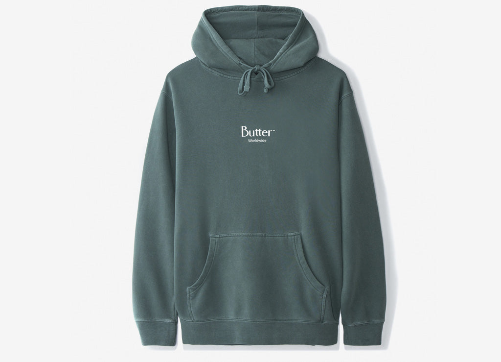 Butter Goods Micro Logo Pullover Hoody - Alpine Green