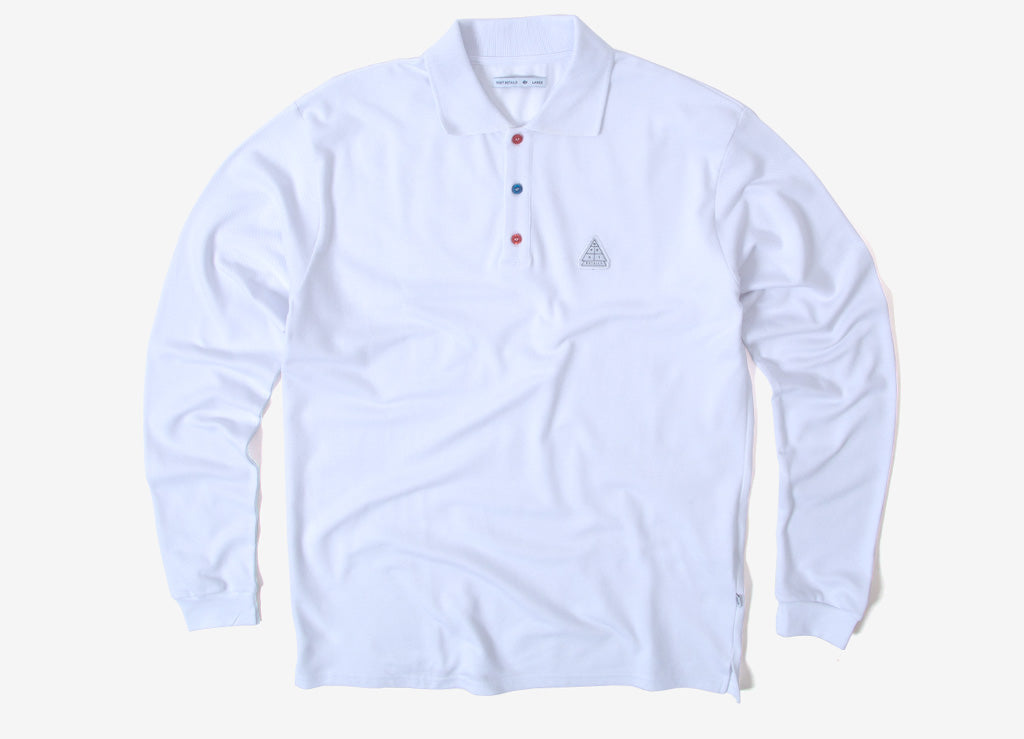 Post Details Shuffleboard Long Sleeve Polo Shirt  - White