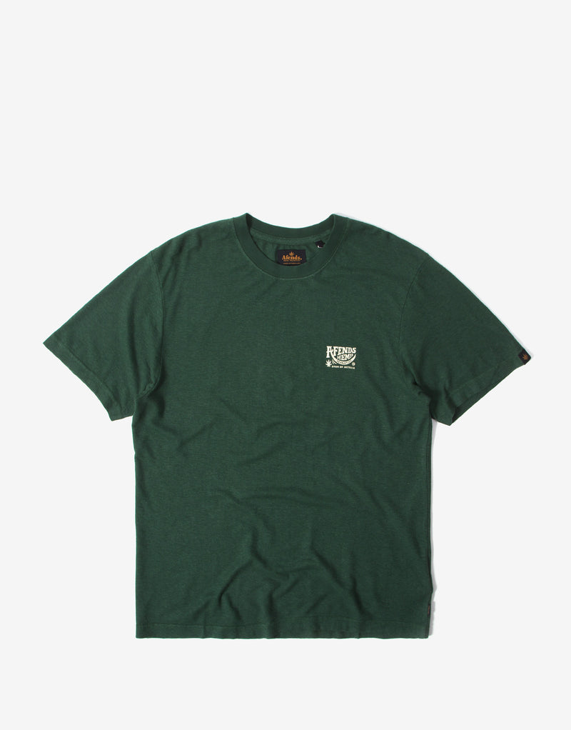 Afends Bugle Hemp Retro Fit T Shirt - Forest