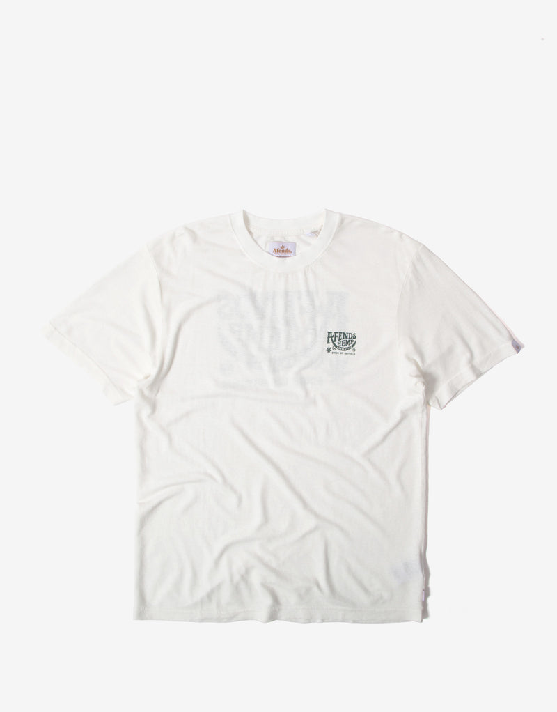 Afends Bugle Hemp Retro Fit T Shirt - White