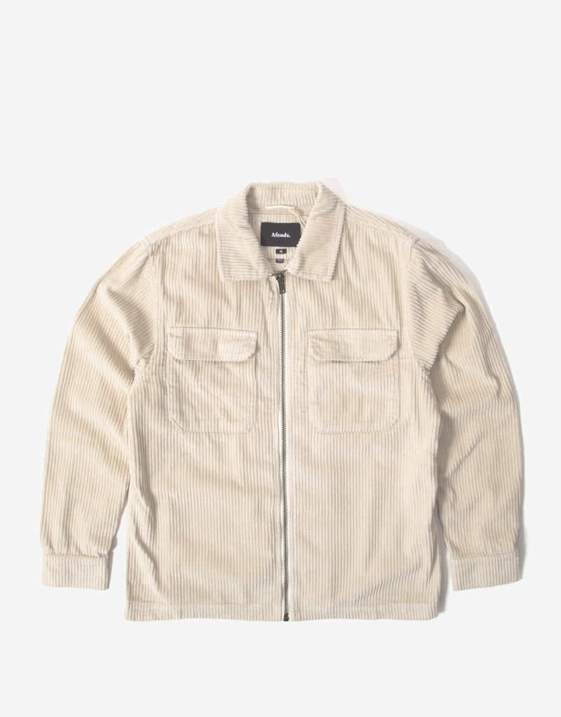 Afends Bones Zip Work Jacket - Macadamia