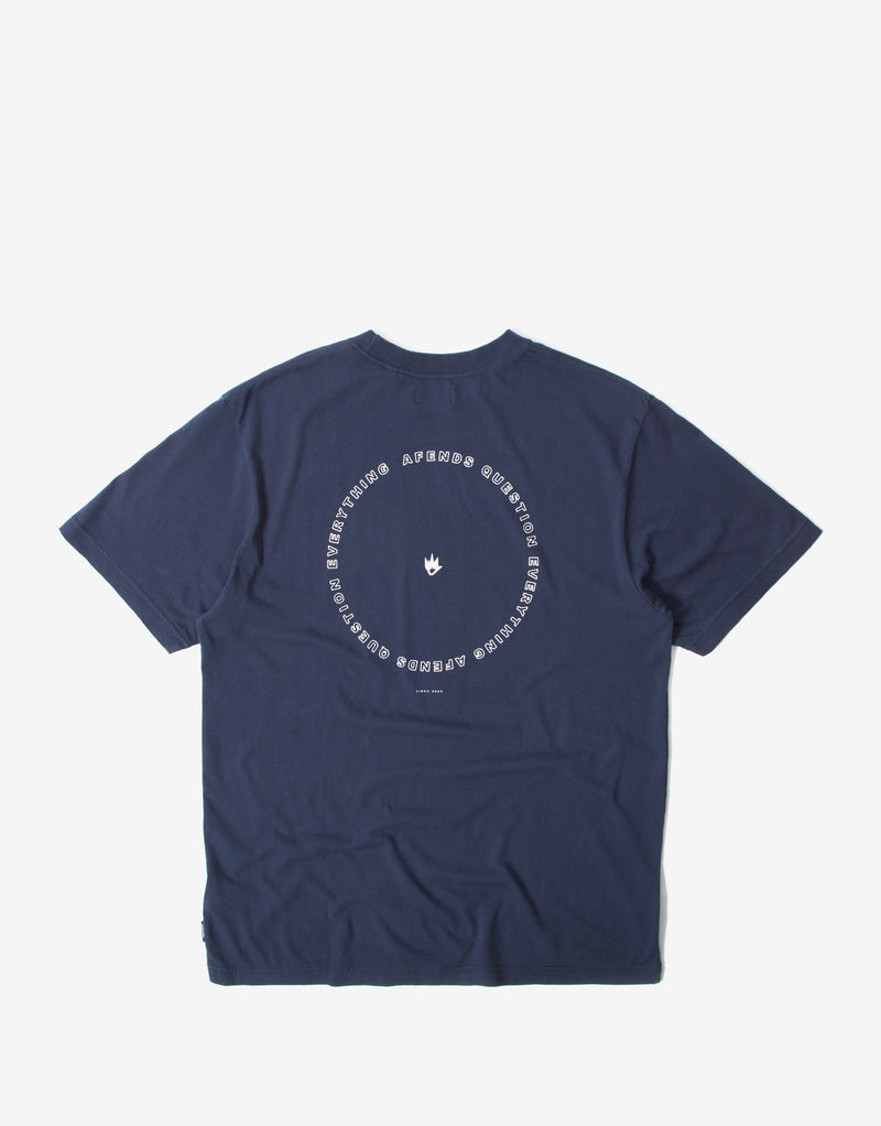 Afends Circle Pit Retro Fit T Shirt - Midnight