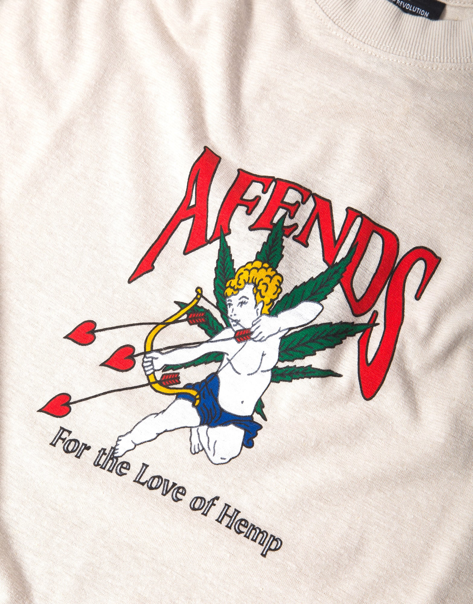 Afends Cupid Hemp Retro Fit T Shirt - Moonbeam