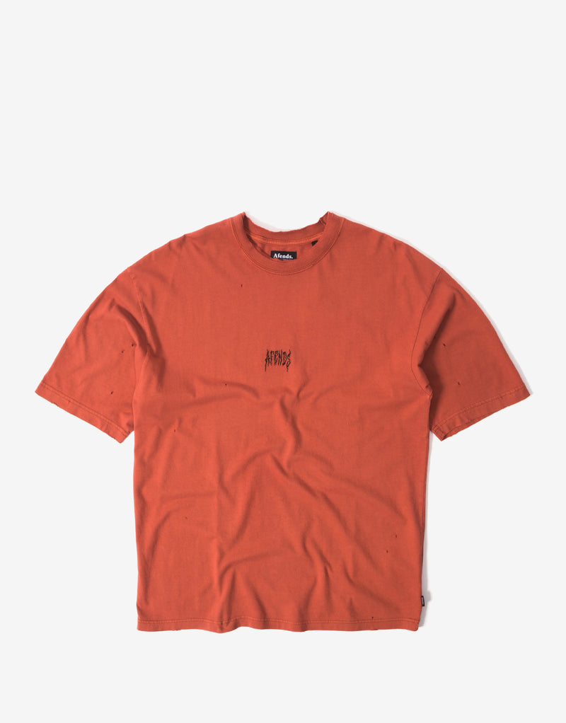 Afends Distressed Oversized T Shirt - Brick