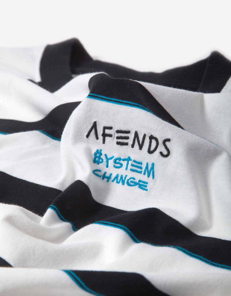 Afends Fight Stripe Retro Fit T Shirt - Blanc