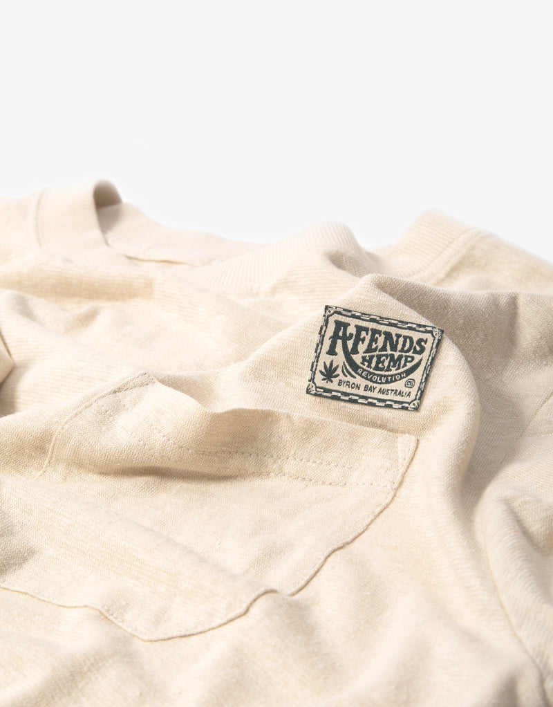 Afends Heritage Hemp Retro Fit T Shirt - Macadamia