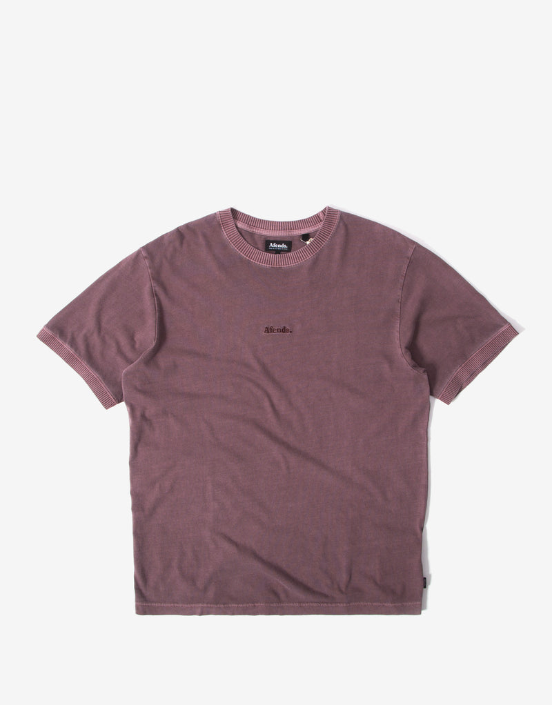 Afends Seventies Retro Fit Ringer T Shirt - Mulberry