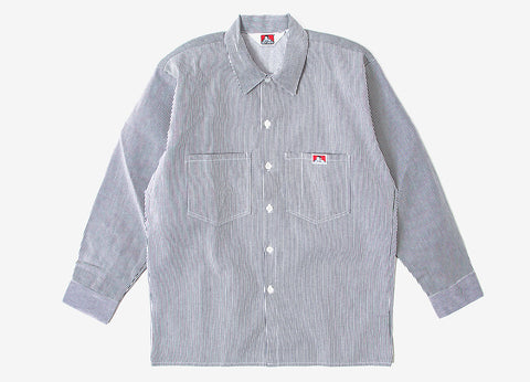 Ben Davis Long Sleeve Button Front Shirt - Hickory Stripe