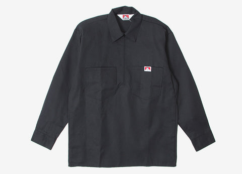 Ben Davis Half Zip Long Sleeve Shirt - Black