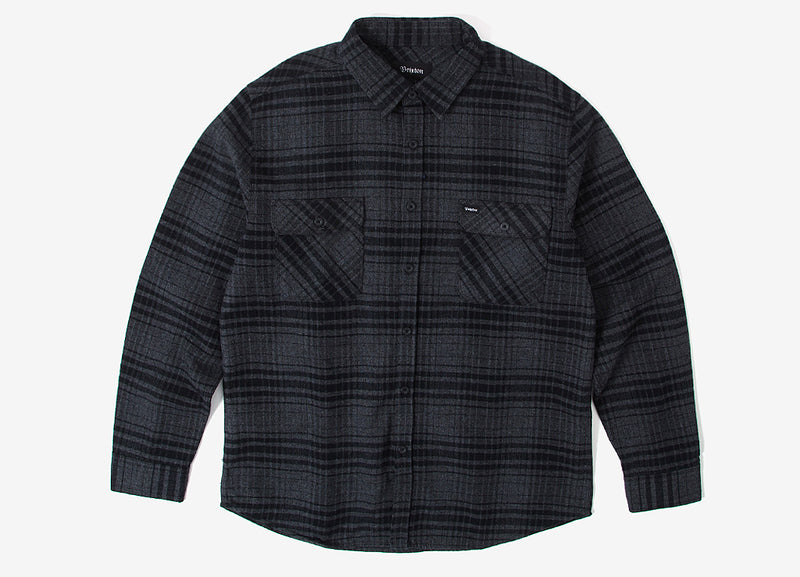 Brixton Bowery Flannel Shirt - Black/Heather Charcoal