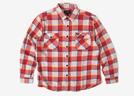 Brixton Bowery Flannel Shirt - Red/Grey