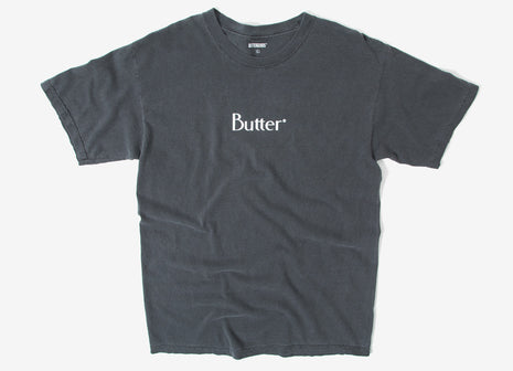 Butter Goods Classic Logo Pigment Dyed T Shirt - Black