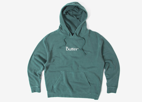 Butter Goods Classic Logo Pigment Dye Pullover Hoody - Dusty Teal