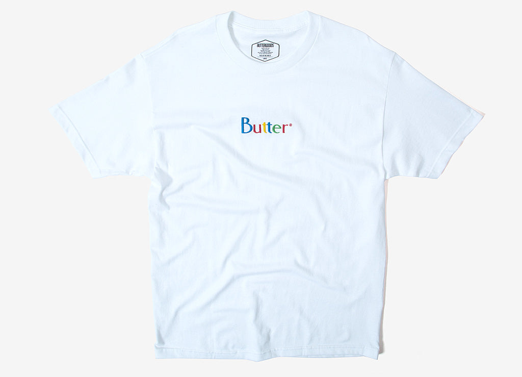Butter Goods Web Embroidered Classic Logo T Shirt - White