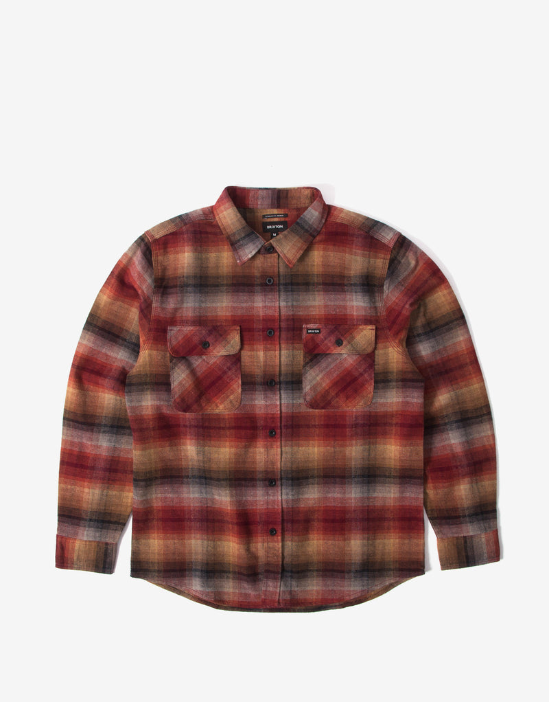 Brixton Bowery Flannel Shirt - Dark Brick