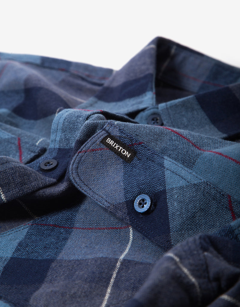 Brixton Bowery Flannel Shirt - Navy/Carolina Blue