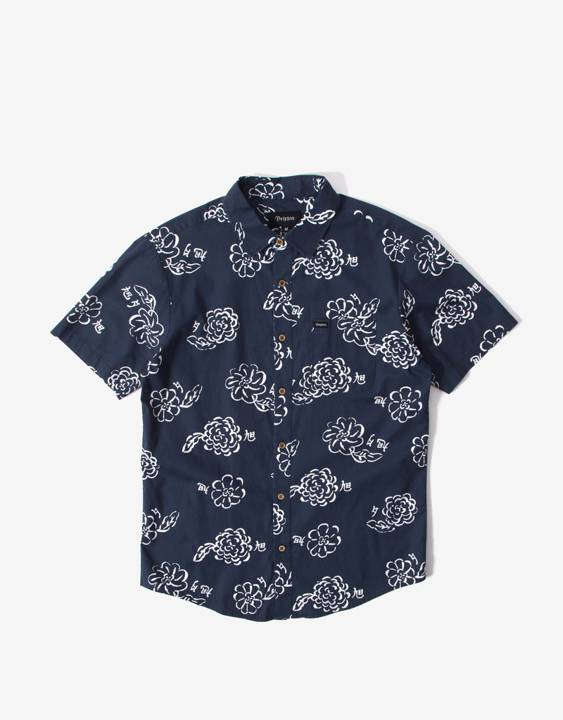 Brixton Charter Print Short Sleeve Shirt - Navy/Off White