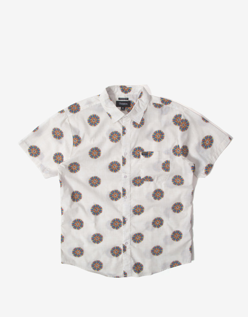 Brixton Charter Print Short Sleeve Shirt - Off White/Autumn