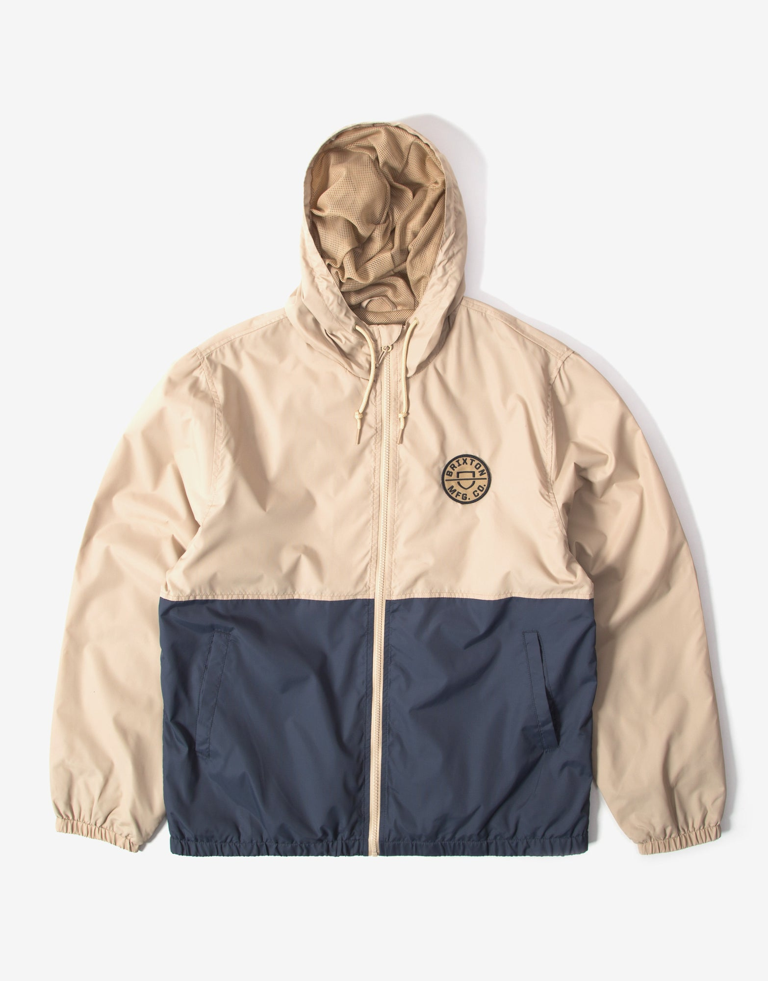 Brixton Claxton Alton Light Weight Zip Hood Jacket - Vanilla/Steel Blue