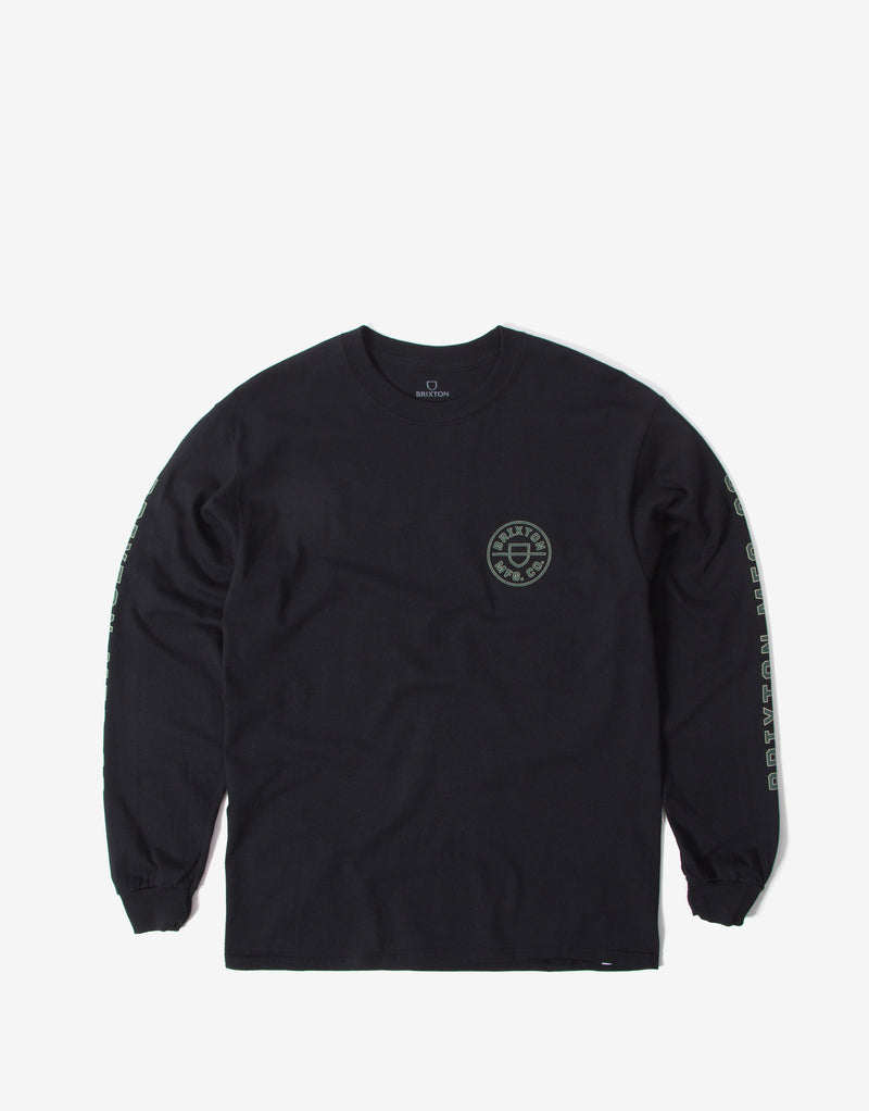 Brixton Crest Long Sleeve T Shirt - Black