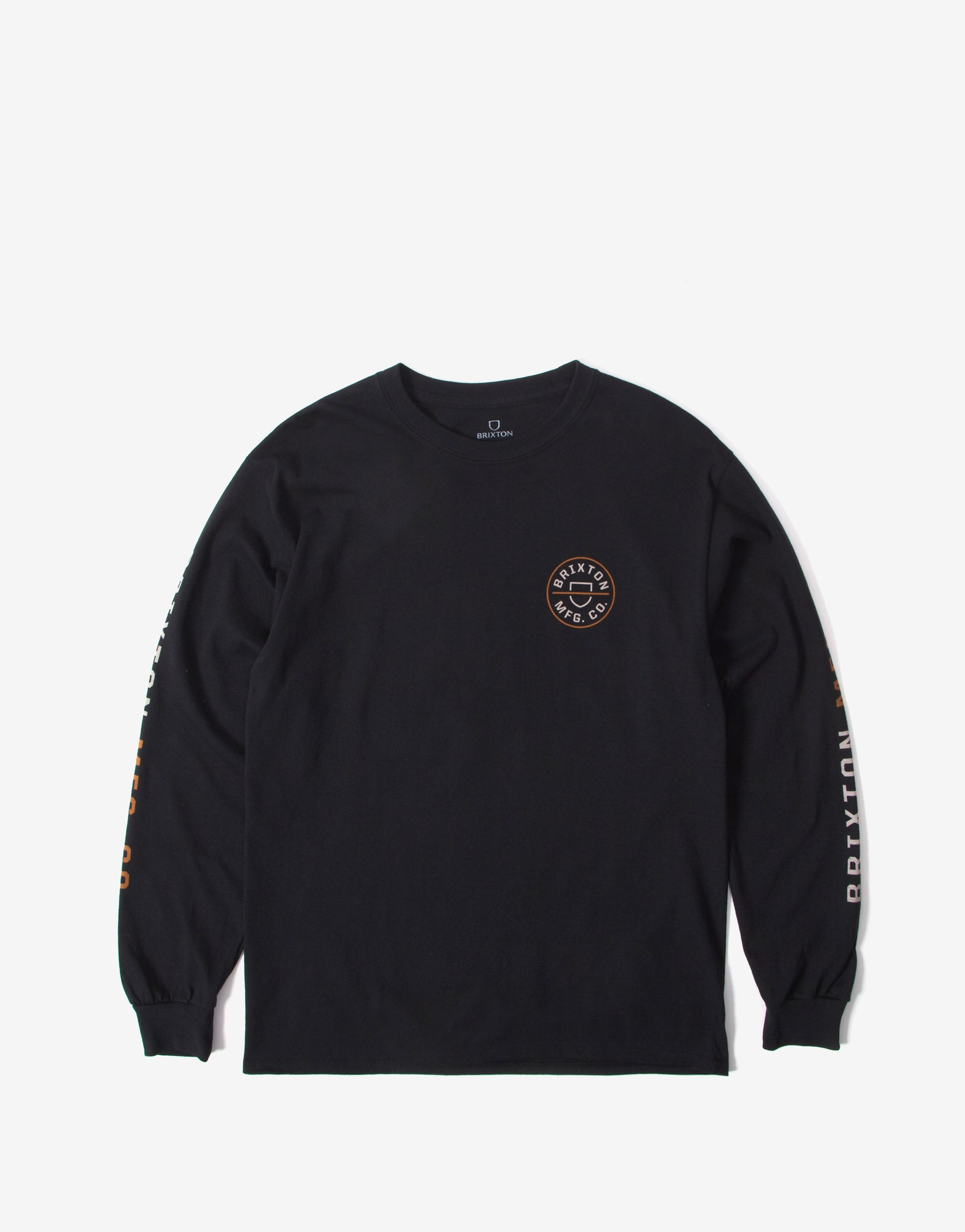 Brixton Crest Long Sleeve T Shirt - Black/Vanilla
