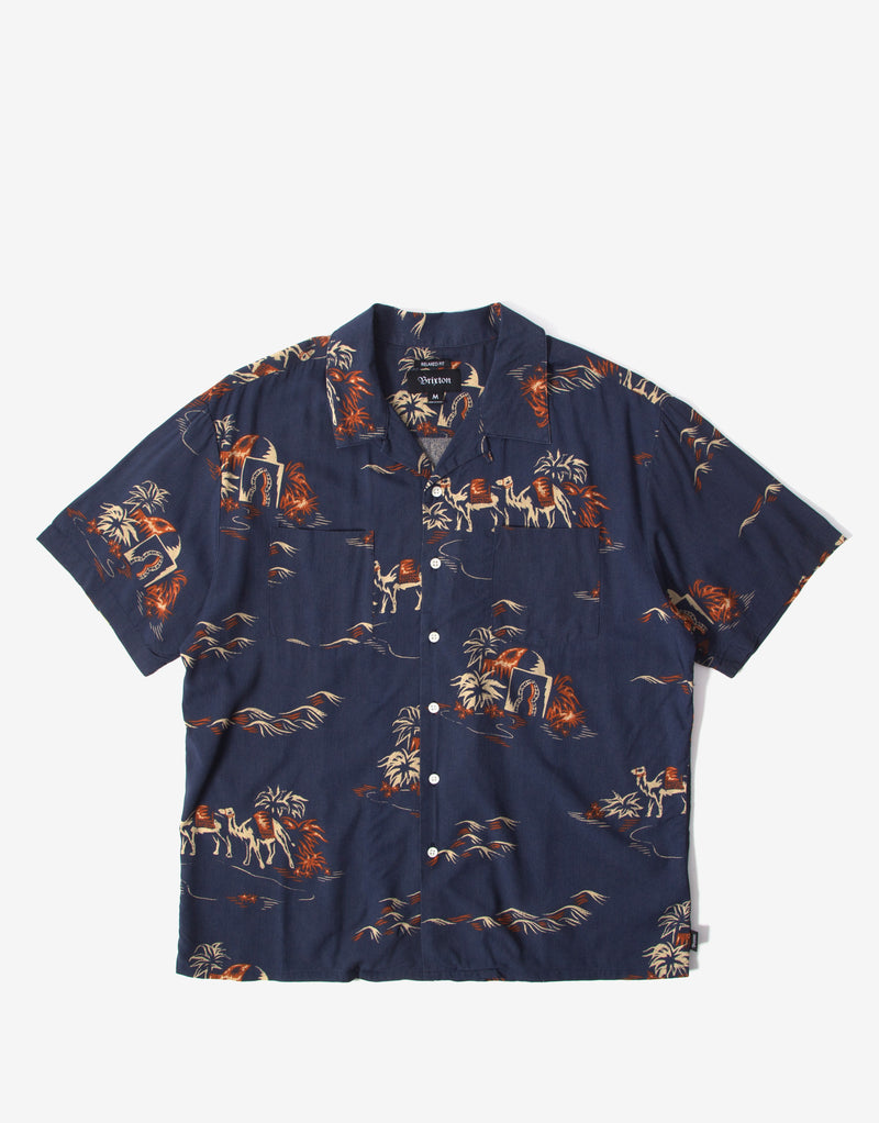 Brixton Cruze Short Sleeve Shirt - Washed Navy/Ginger