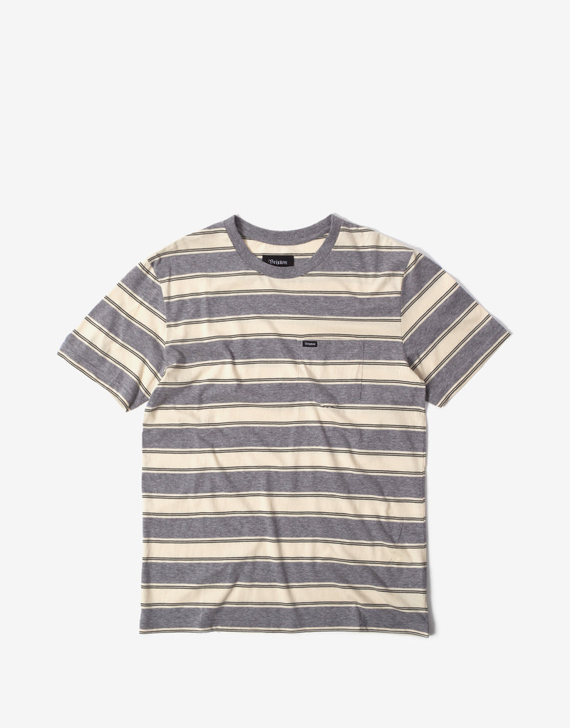 Brixton Hilt Pocket T Shirt - Heather Grey/Off White