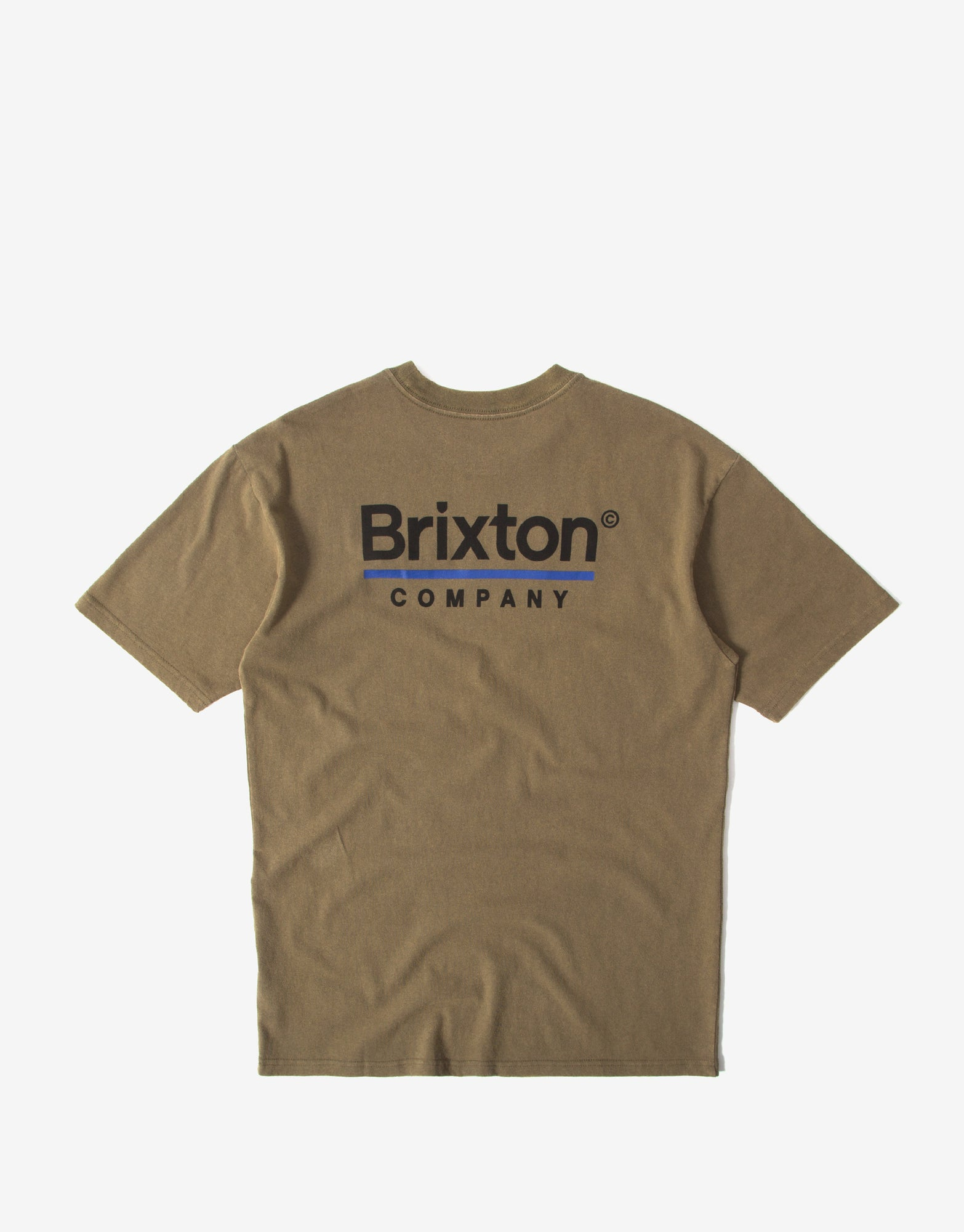 Brixton Palmer Line T Shirt - Worn Wash Military Olive