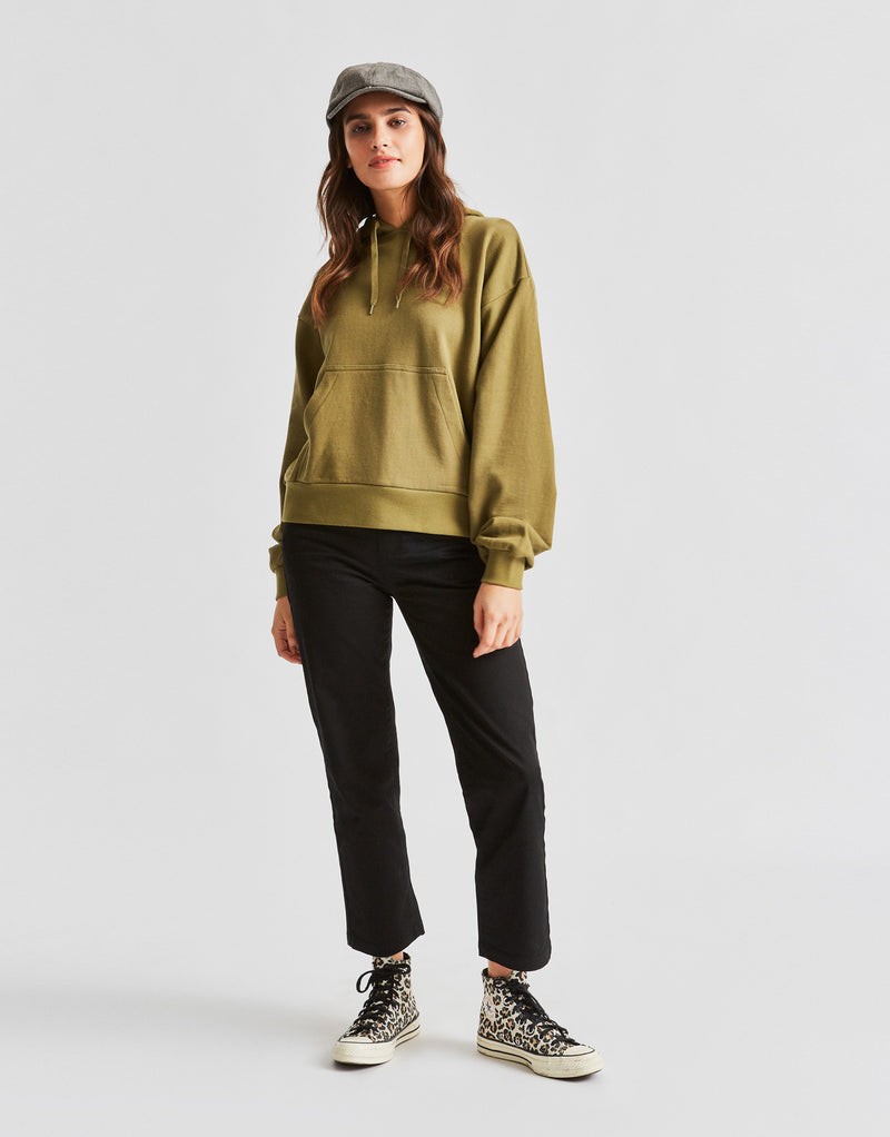 Brixton Women's Vintage French Terry Hoody - Washed Olive