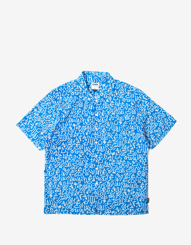 Brixton Lovitz Short Sleeve Woven Shirt - Royal/White