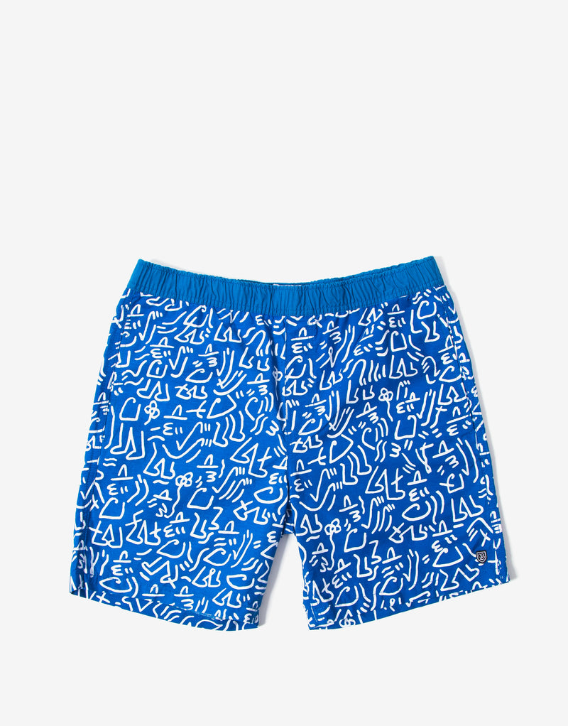 Brixton Steady Elastic Waistband Shorts - Royal/White