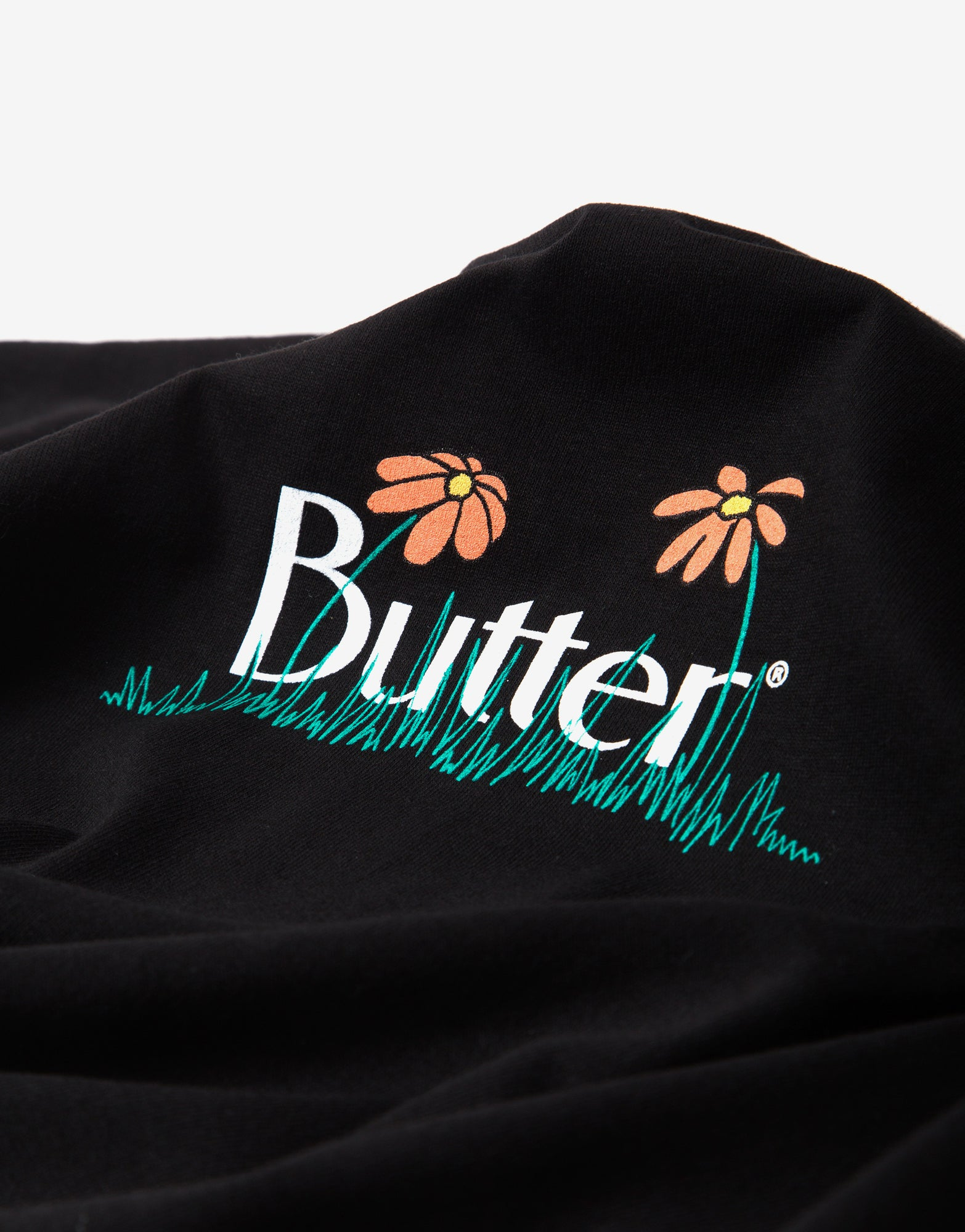Butter Goods Flowers Classic Logo T Shirt - Black