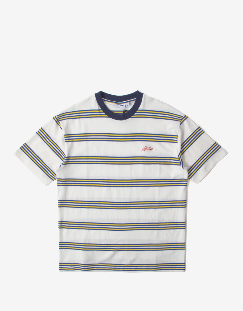 Butter Goods Market Stripe T Shirt - White/Navy/Yellow
