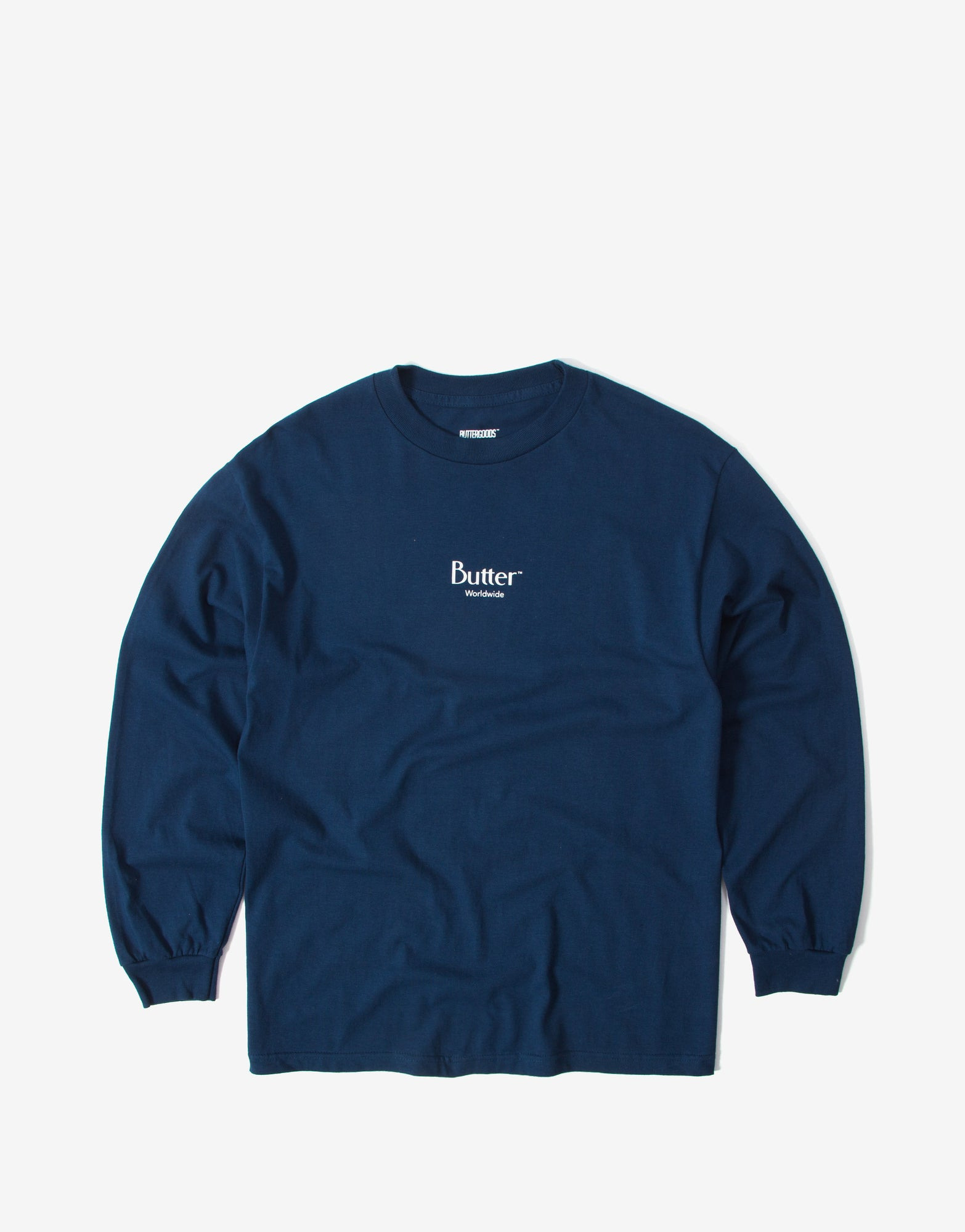 Butter Goods Micro Classic Logo Long Sleeve T Shirt - Harbour Blue