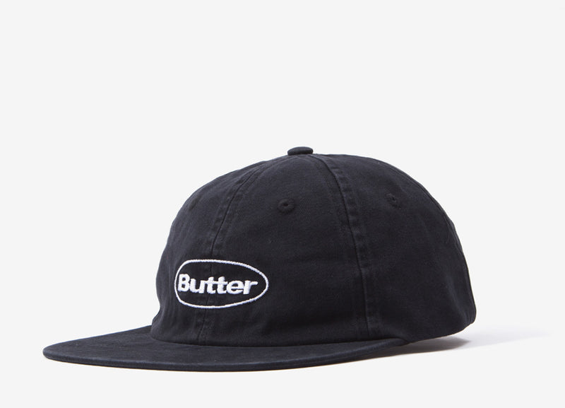Butter Goods Washed Badge 6 Panel Cap - Black